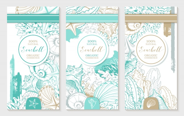 Vertical design template with pastel turquoise and gold seashells.