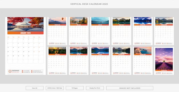 Vertical desk calendar 2020