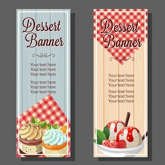 Vertical dessert banner with ice cream