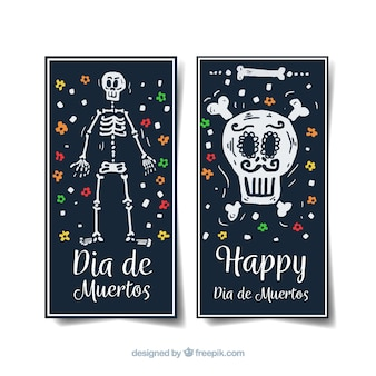 Vertical día de muertos banners