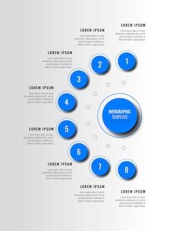 흰색 배경에 현실적인 그림자가 있는 8개의 파란색 인포그래픽 요소가 있는 세로 다이어그램