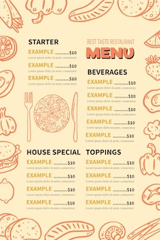 Vertical digital restaurant menu template with illustrations