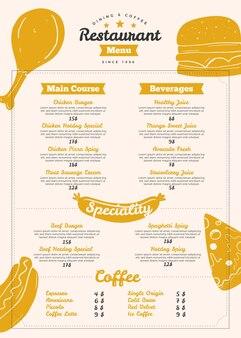 Vertical digital restaurant menu template