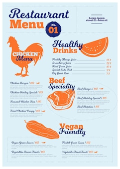 Vertical digital restaurant menu