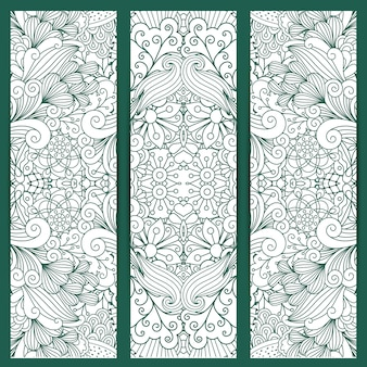 Vertical doodle backgrounds with ethnic design