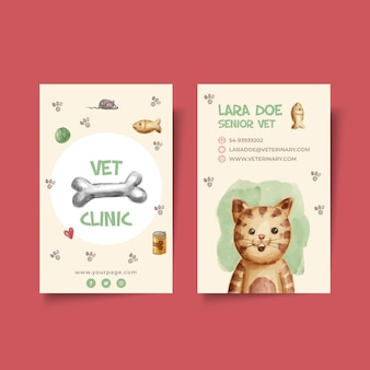 Vertical double-sided business card template for veterinary clinic