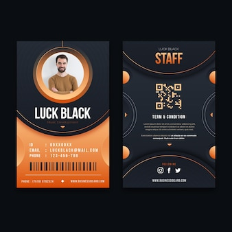 Vertical double-sided id card template with photo