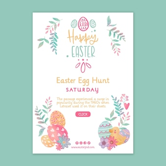 Vertical easter day flyer template