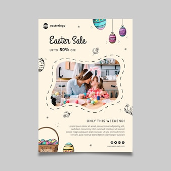 Vertical easter sale poster template