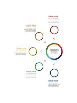 Вертикальный пятиступенчатый дизайн макета инфографики шаблон с круглыми 3d реалистичными элементами