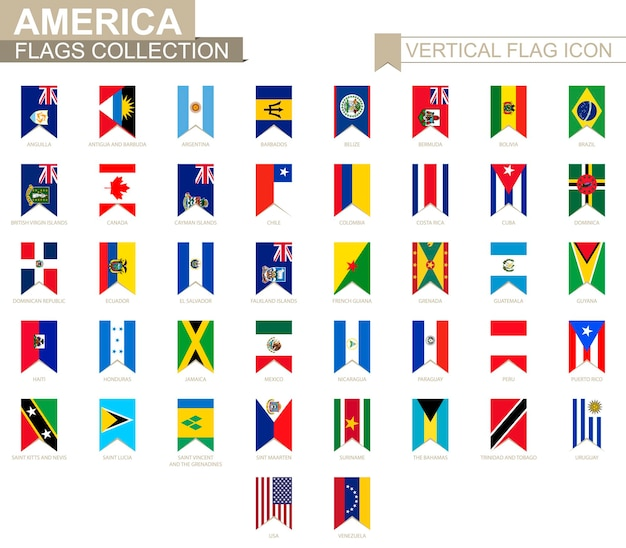 Vertical flag icon of america. american countries vector flag collection.