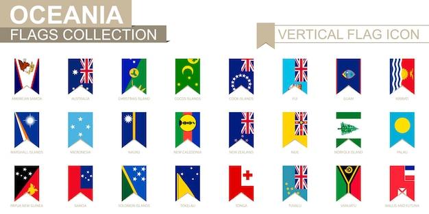 Вертикальный значок флага океании. коллекция векторных флагов стран океании.