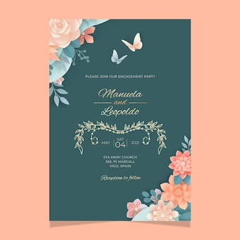 Vertical floral card template for wedding