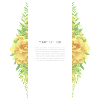 Vertical floral frame with text template