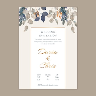 Vertical floral wedding card template