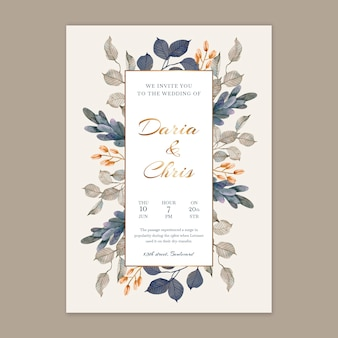 Vertical floral wedding card