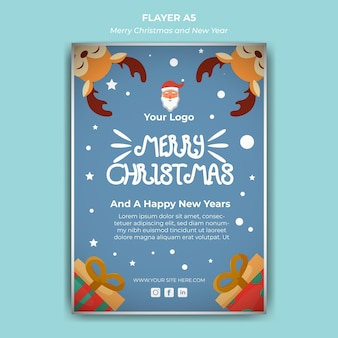 Vertical flyer illustration template for christmas and new year