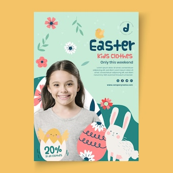 Vertical flyer template for easter sale with girl and eggs