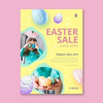 Вертикальный шаблон флаера для пасхальной распродажи с ребенком и кроличьими ушками