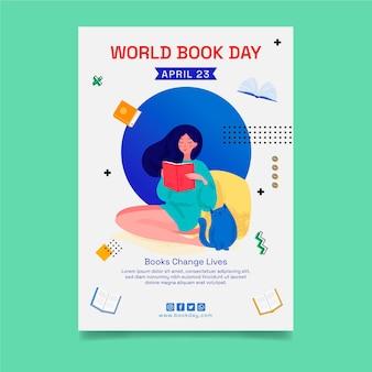 世界図書の日のお祝いのための縦型チラシテンプレート