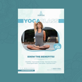 Вертикальный шаблон флаера для практики йоги