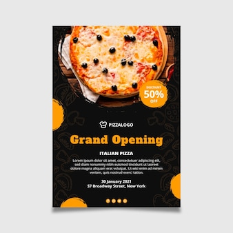 Vertical flyer template for italian food restaurant