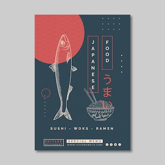 Vertical flyer template for japanese food restaurant