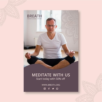Vertical flyer template for meditation and mindfulness