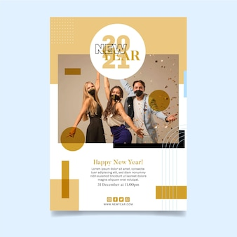 Vertical flyer template for new year party with friends