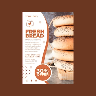 Vertical flyer template for pastry shop