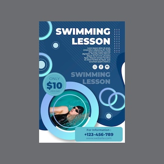 Vertical flyer template for swimming lessons