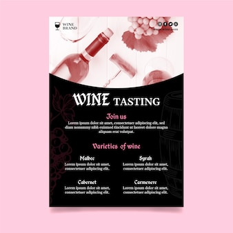 Vertical flyer template for wine tasting