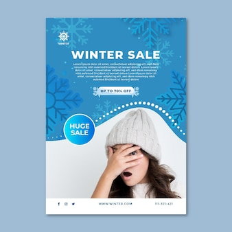 Vertical flyer template for winter sale