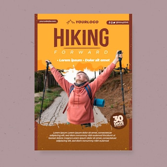 Vertical flyer template with female backpacker