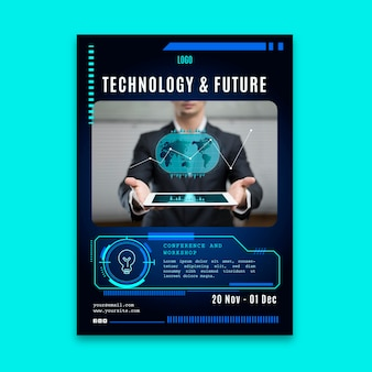 Vertical flyer template with futuristic technology