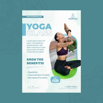 Vertical flyer template for yoga practice with woman