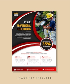 Vertical flyer for we are professional electricians creative concept for advertising template