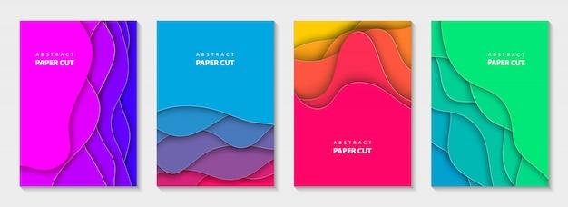 Vertical flyers vivid colors paper cut shapes.