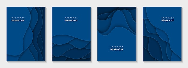 Vertical flyers with blue paper cut shapes