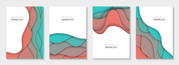 Vertical flyers with colorful paper cut