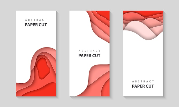 Vertical flyers with pastel coral paper cut