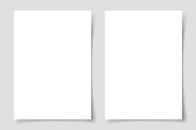 회색 배경에 그림자와 수직 전단지. 전단지 또는 카드 템플릿