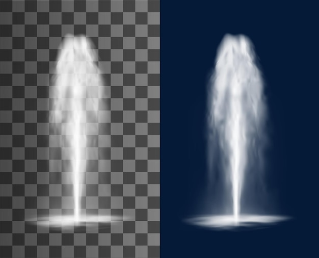 Вертикальный фонтан с каскадом струй воды и брызг, вектор изолированных реалистичный 3d на прозрачном фоне. водопад струи струи фонтанной воды или гейзер и извержение водного источника