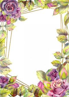 Vertical frame background with flowers of roses