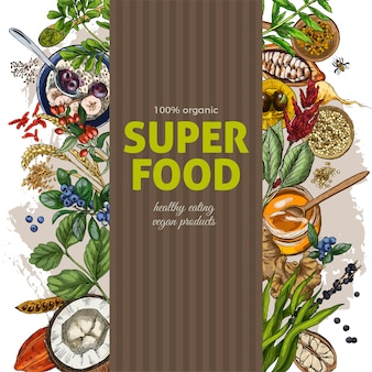 Vertical frame banner with full color realistic superfood s