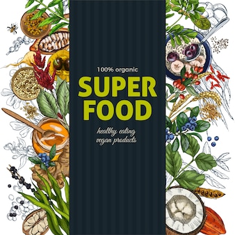 Vertical frame banner with full color realistic superfood