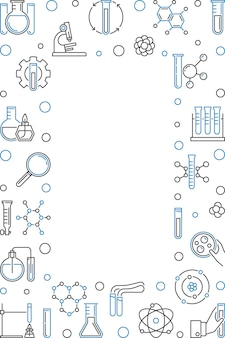 Vertical frame with chemistry outline icon illustration