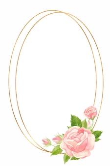 ピンクのバラとゴールドの幾何学的なフレームフローラルと垂直フレーム