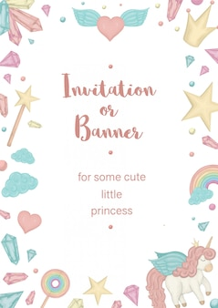Vertical frame with unicorn, rainbow, crown, star, cloud, crystals.