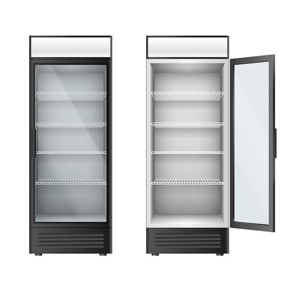 음료와 음료를 위한 수직 유리 냉장고 진열장. 유리 문이 있는 냉장고는 상점, 슈퍼마켓 또는 카페 인테리어를 위해 열리거나 닫힙니다. 3d 벡터 일러스트 레이 션
